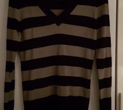 Črtast pulover z V-izrezom H&M