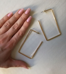 Zlati Reserved kvadratni/pravokotni uhani