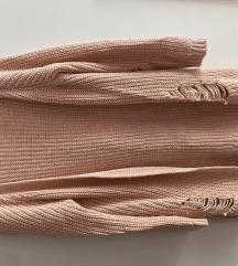 NOVO pletena roza jopica s perlicami