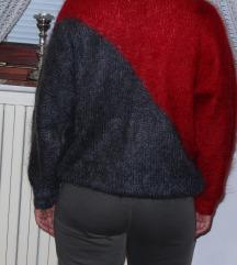 Rdeče-siv pulover