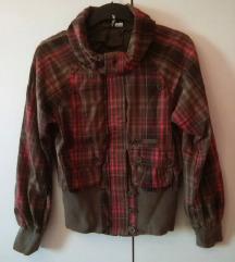 Rjava pink plaid karirasta prehodna jakna