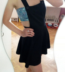 Črna skater open back dress obleka oblekca