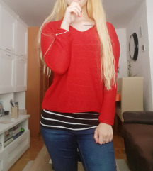 S Rdec pleten pulover
