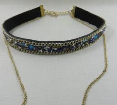 Choker ogrlica z svetlečimi kristalčki