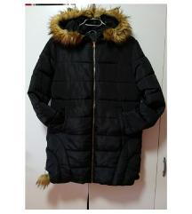 modna daljša topla bunda s kapuco z mucko
