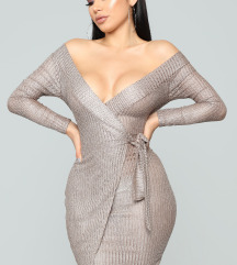 Metallic Dress - Mocha/Silver