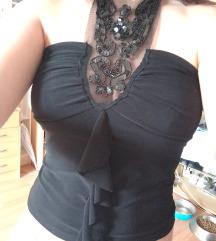 Črna majica čipka