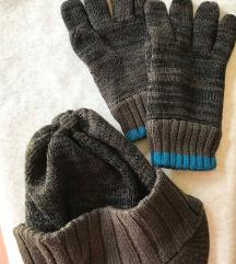 Rjava topla kapa + rokavice 152/170 (11-14+ let)