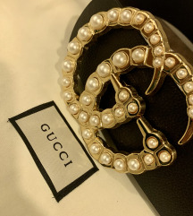 🎀 Wide Leather Gucci belt with pearls