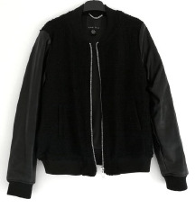 ZNIŽ.Črn wool leather bomber