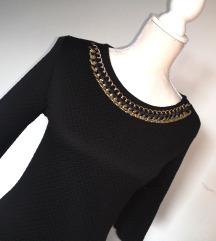NOVA črna obleka z zlato ketnico 👗 Zara