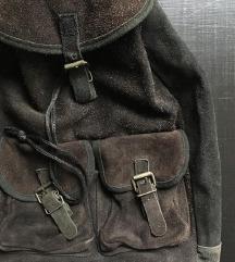 ZNIŽAN lep vintage usnjen velik nahrbtnik