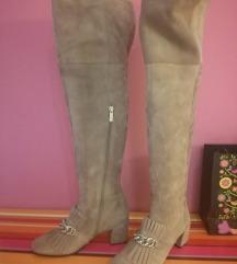 Škornji čez koleno pravo usnje novi Lazzarini