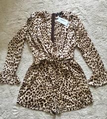 Leopard jumpsuit (pajac) z mašnico