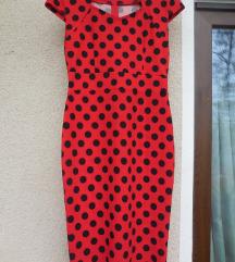Nova rdeča pikčasta obleka