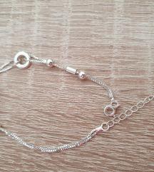 Srebrna zapestnica (pravo srebro)nova,nastavljiva