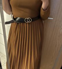 NOVA rjava elegantna obleka
