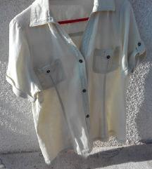2x ženski srajci (svetlo rumena in svetlo rjava)