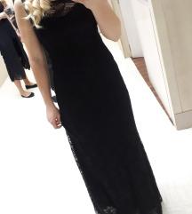 Črna, dolga, čipkasta obleka
