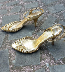 ZARA št. 36 zlati pravo usnje sandali