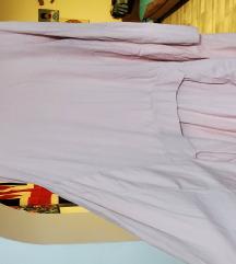 Nežno roža daljša tunika oblekica z žepi