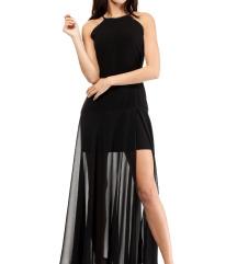 Črna elegantna oprijeta obleka s tilom - kot NOVA!