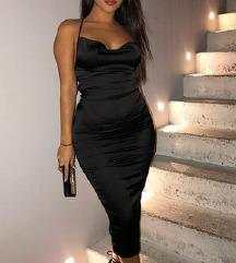 NOVA Sexy črna obleka z odprtim hrbtom