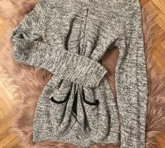 knit jopca z usnjenimi detajli