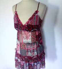 patchwork vzorec obleka,S