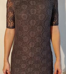 Chic čipkasta rjava tunika/kratka oblekica