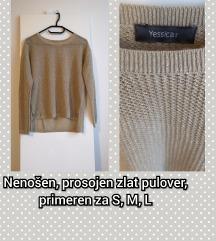 Zlat, luknjičast pulover