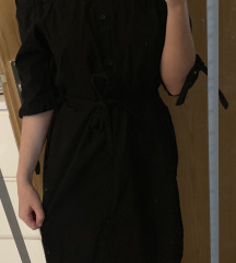 Črna off shoulder obleka
