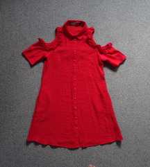 Rdeča oblekica z žepi