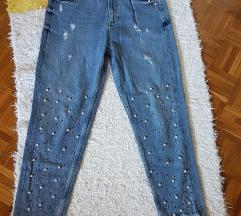 Zara TRF mom fit pearl jeans
