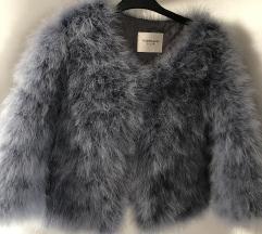 Kratka siva jakna, nojevo perje