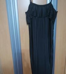 Crna zarina plisirana poletna obleka
