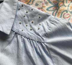 Baby blue srajčka s perlami