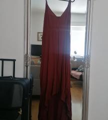 Dolga vinsko rdeča obleka