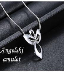 Angelski amulet verižica z obeskom-jeklo