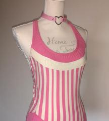 Baby pink, roza bele črtaste body kopalke  xs-s🌸