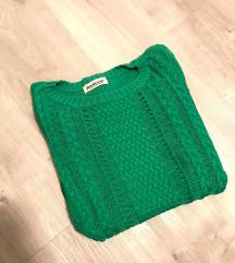 Živo zelen klasični pulover