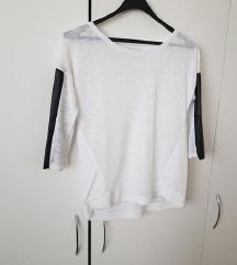 bela majčka/pulover z usnjem