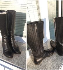 Geox usnjeni črni škornji