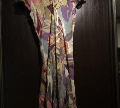 Lahkotna obleka s potiskom rož
