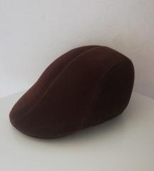 Moška rjava žametna baretka K