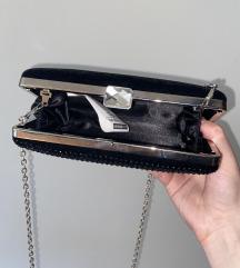Črna clutch torbica s kristali