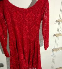 Rdeča čipkasta oblekca 36