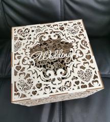 ❧ Lesena škatla za poročne želje, misli, denar...
