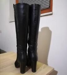 Visoki črni škornji, semiš/gladko usnje