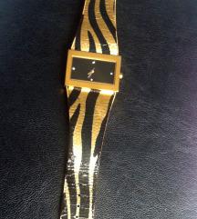 Zlato črna ura tigrasti vzorec Quartz